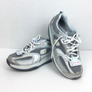 Skechers Shape Ups Blue Silver Fitness Sneakers